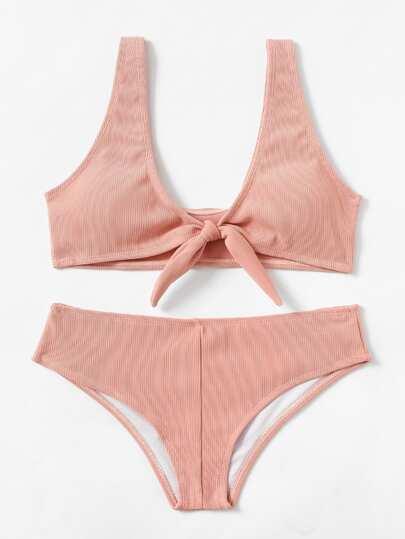 Knot Front Textured Bikini Set