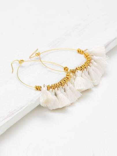 Tassel Drop Hoop Earrings