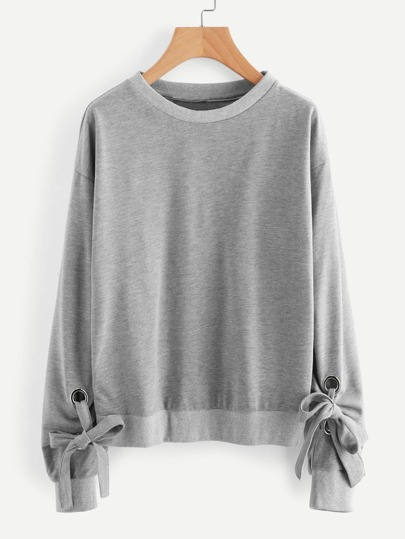 Drop Shoulder Tie Detail Marled Sweatshirt
