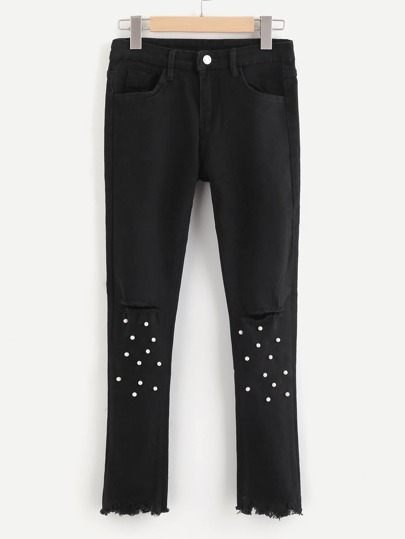 Ripped Hem Knee Rips Faux Pearl Decoration Jeans
