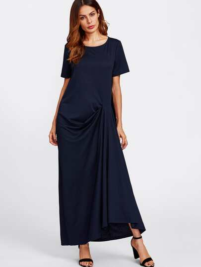 Gathered Draped Tee Dress