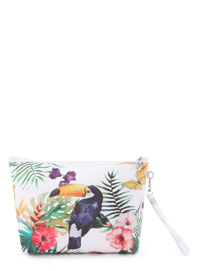 Bird & Flower Print Makeup Bag 3pcs