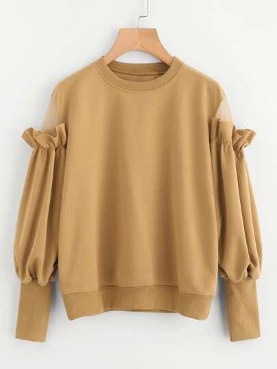 Sweat-shirt avec manche ruché
