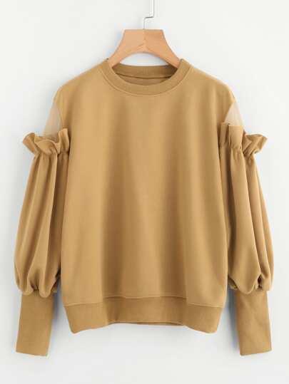 Frill Mesh Insert Sleeve Sweatshirt