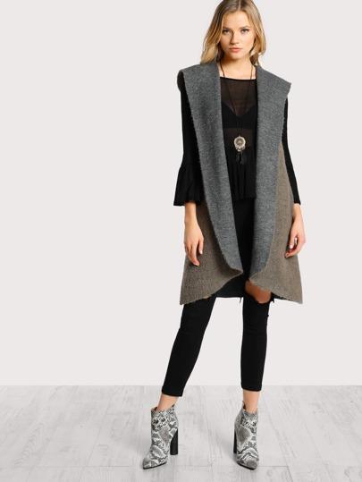 Soft Knit Hoodie Sleeveless Outerwear MOCHA