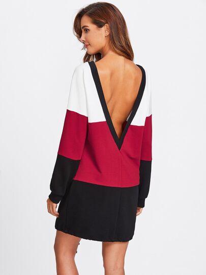 Deep V Back Drawstring Hem Cut And Sew Dress
