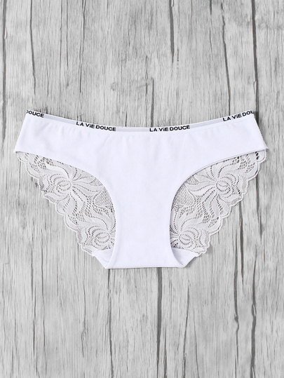 Letter Tape Lace Insert Panty