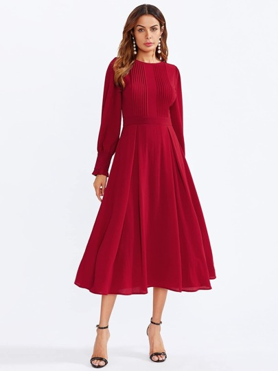 Frilled Bishop Sleeve Pleated Fit & Flare Dress