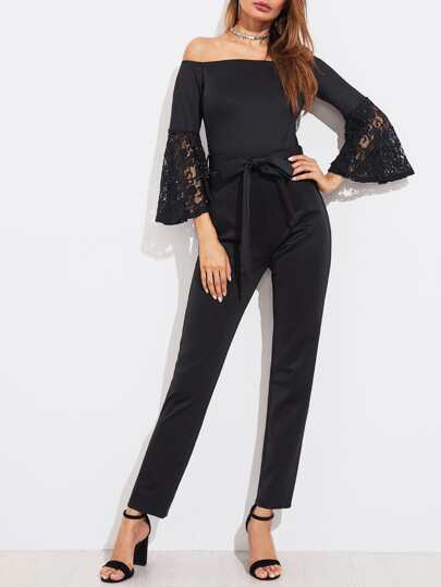 Floral Lace Bell Cuff Self Belted Bardot Jumpsuit