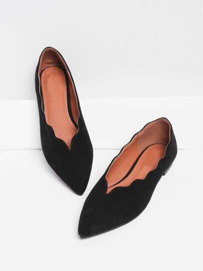 Scallop Trim Pointed Toe Flats