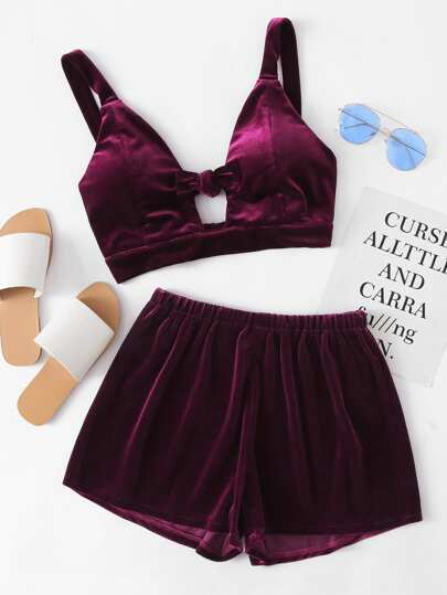 Velvet Knotted Keyhole Front Crop Top With Shorts