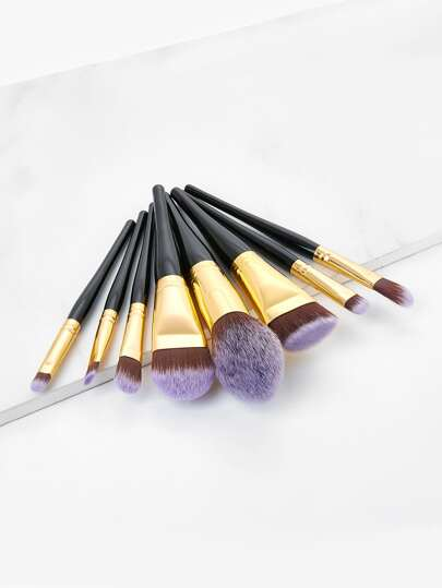 Metallic Detail Makeup Brush Set 8pcs