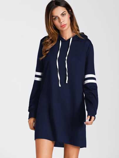 Hoodie Kleid mit Streifen
