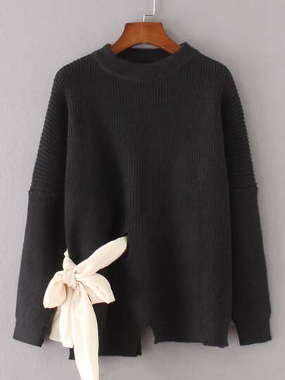 Contrast Bow Tie Slit Detail Asymmetrical Sweater