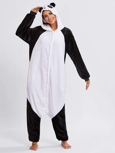 Mono de pijama con diseño panda de entrepierna caída