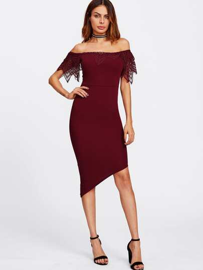 Lace Frill Trim Asymmetric Bardot Dress