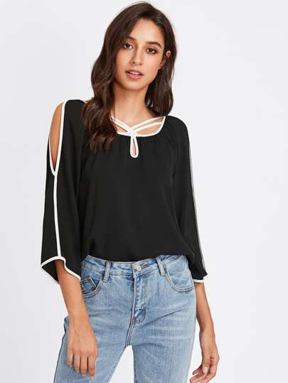 Keyhole Strappy Neck Contrast Binding Blouse