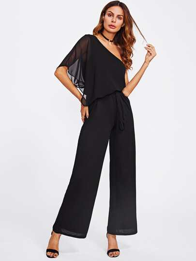 One Shoulder Tie Waist Mesh Jumpsuit