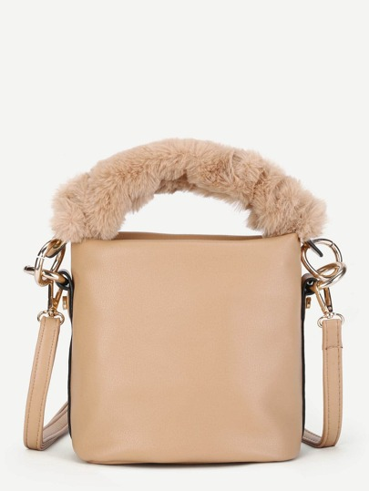 PU Shoulder Bag With Faux Fur Handle
