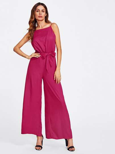 Open Back Wide Leg Cami Jumpsuit With Belt