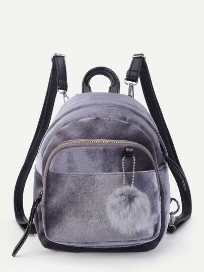 Pom Pom Decorated Velvet Backpack