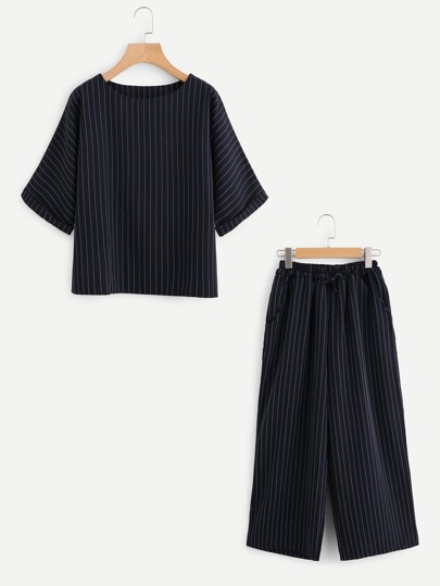 Pinstripe Cuffed Top With Wide Leg Pants