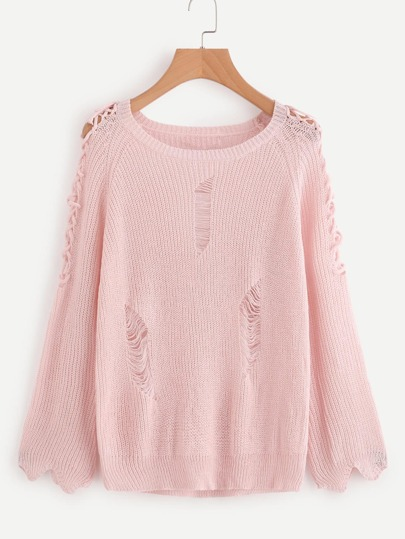Criss Cross Sleeve Ripped Detail Sweater