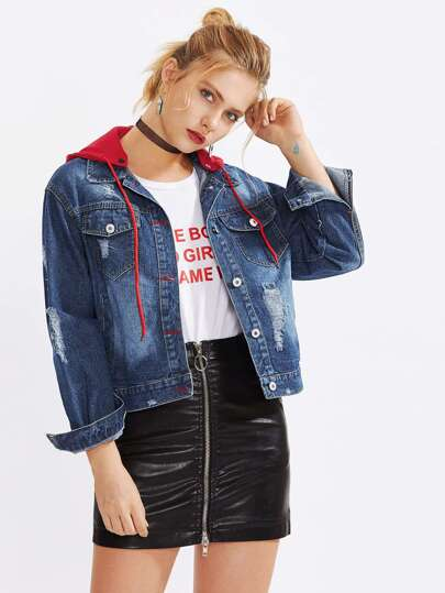 Ripped Drop Shoulder Hooded Denim Jacket
