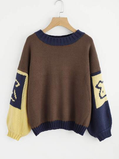Cut & Sew Drop Shoulder Balloon Sleeve Jumper