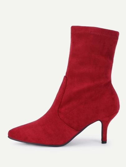 Pointed Toe Court Heeled Ankle Boots