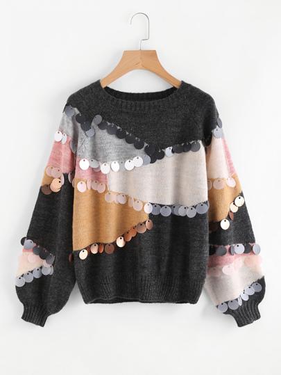 Suéter con lentejuelas en contraste