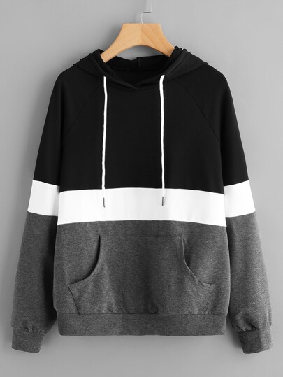 Cut And Sew Raglan Sleeve Pocket Hoodie