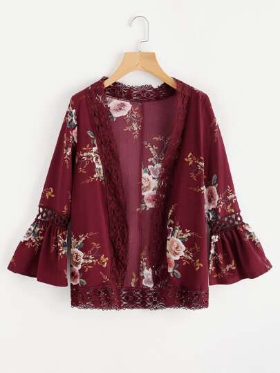 Fluted Sleeve Floral Print Lace Trim Kimono
