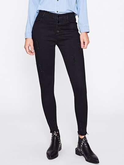 Jeans schmale Jeans mit ausgefranstem Saum
