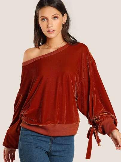 Sweat-shirt manche lanterne en velours avec nœud papillon