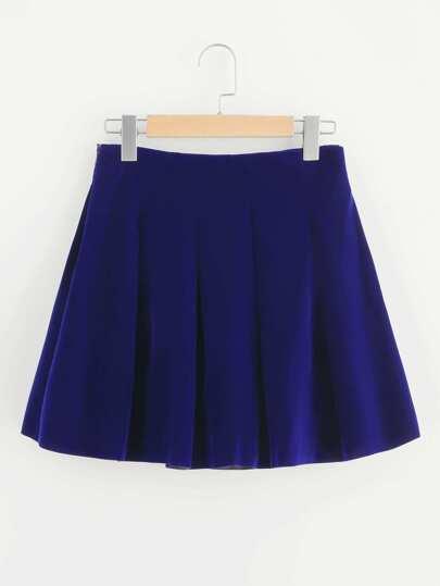 Boxed Pleated Velvet Skirt