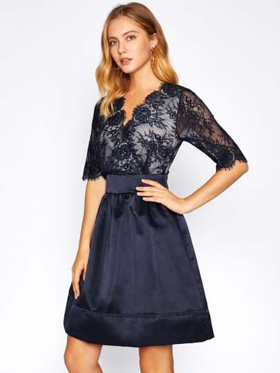 Overlap Lace Bodice Satin Dress