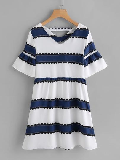 Double V Neckline Fluted Sleeve Contrast Striped Dress