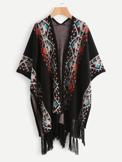 Cardigan poncho à motif Aztèque avec des franges