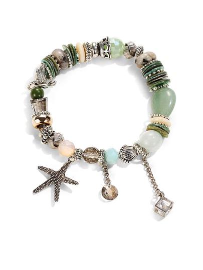Starfish Detail Bead Charm Bracelet