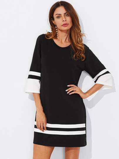 Striped Cuff And Hem Tee Dress