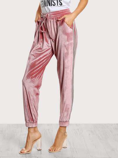 Shirred Waist Velvet Sweatpants