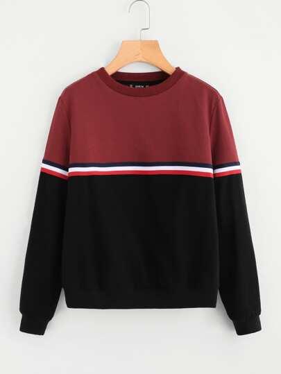 Sweatshirt mit Streifen und Band Detail