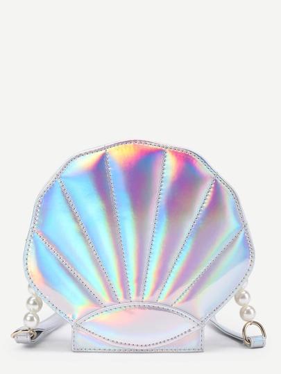 Faux Pearl Detail Shell Shaped PU Crossbody Bag