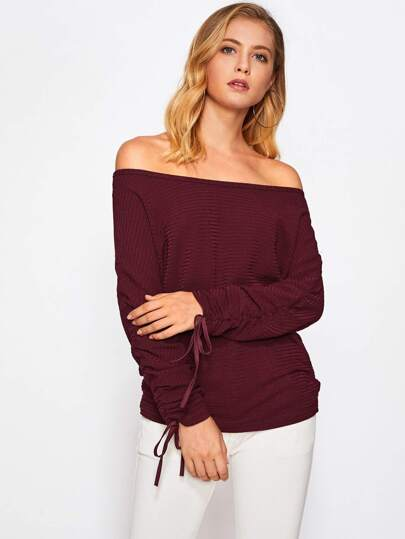Off Shoulder Drawstring Cuff Knit Sweater