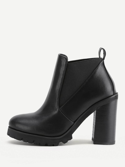 Faux Leather Heeled Ankle Boot