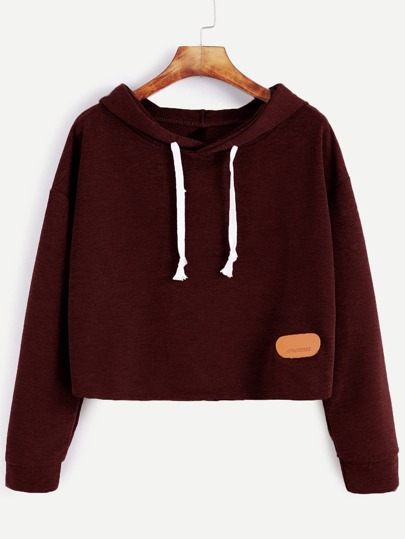 Drop Shoulder Patch Crop Hoodie