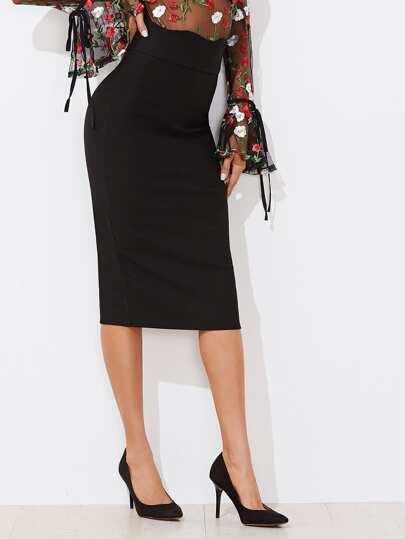 Falda de cintura alta con borde festoneado