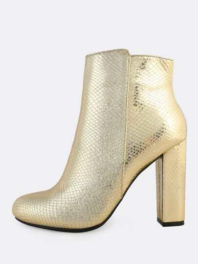 Metallic Snake Print Boots GOLD