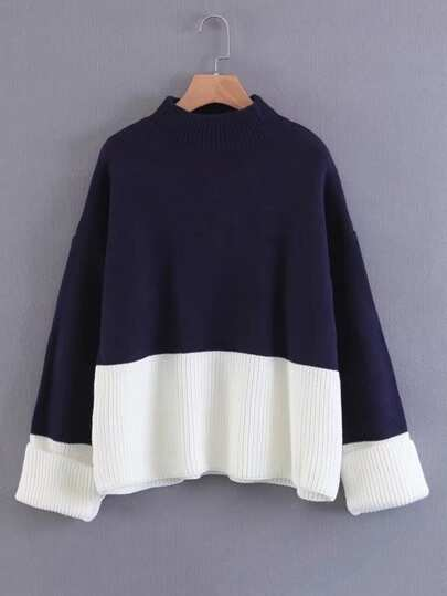 Foldover Cuff Two Tone Sweater